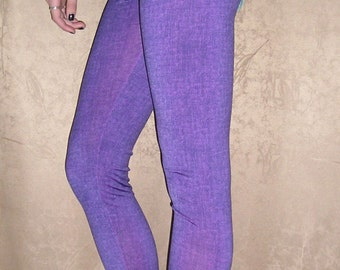 Purple Leggings / Women Low Waist Leggings / Long Leggings, Sizes S, L