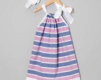 Pillowcase Dress .....Dusty Blue and Pink Stripe  Pillowcase Dress