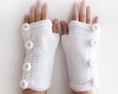 White Fingerless Gloves, Knitted Arm Warmers with four buttons