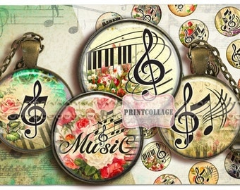 Music Key images Digital Collage Sheet Cabochon images 1.5 inch 18 mm 14mm 1 inch circle Printable images Instant download bottle caps C107
