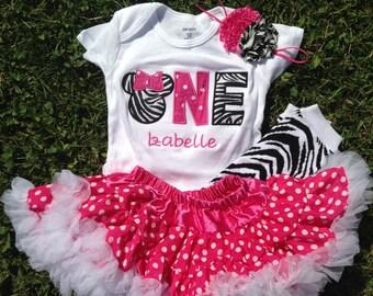 Hot pink and zebra minnie mouse birthday outfit - 1st birthday shirt petti skirt and headband - custom birthday shirt