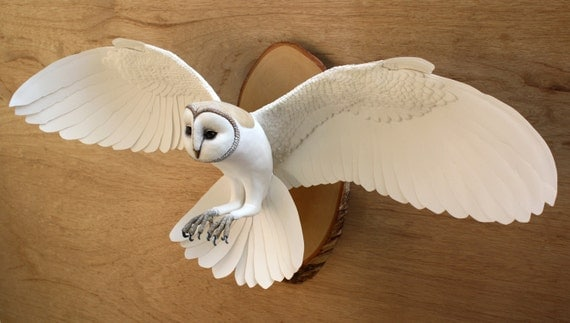 Hand made paper and wood wall mounted owl sculpture