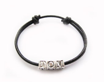 Boys Leather and Silver Name Wristband - Tom Design