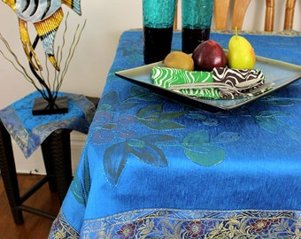 """Hand Painted Floral (Sky Blue) 43"""" X 86"""" Rectangular Tablecloth"""