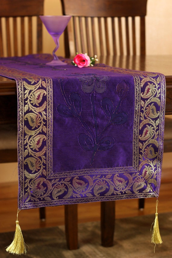 Hand painted 120 inch by 17 inch long table runner plum for 120 inch table runner
