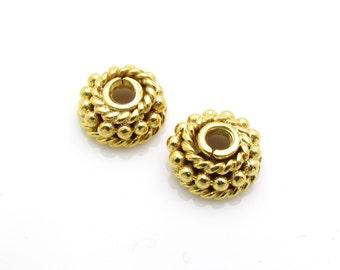4 Pcs, 6.90mm, 24k Gold Vermeil Bead Caps