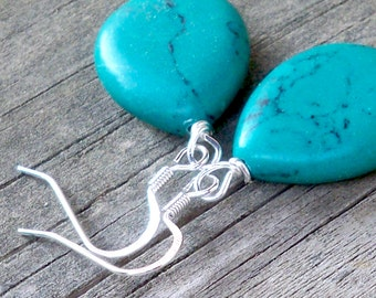 Toney - Turquoise Howlite Teardrop Gemstone Beaded Silver Fish Hook Dangle Earrings - 23mm x 18mm