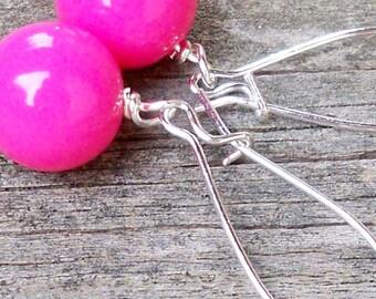 Hot Pink Earrings Hot Pink Dangle Earrings 10mm Hot Pink Earrings Long Pink Earrings Long Hot Pink Earrings Neon Earrings Neon Pink Earrings