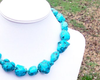 Shakira - Turquoise Howlite 20mm - 30mm Freeform Nugget Gemstone and Faceted Czech Glass Beaded Necklace
