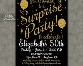 Surprise Party Invitations - Printable Black & Gold Surprise Birthday Invites ANY AGE 21 30th 40th 50th 60th 70th 80th - Adult Birthday BAL