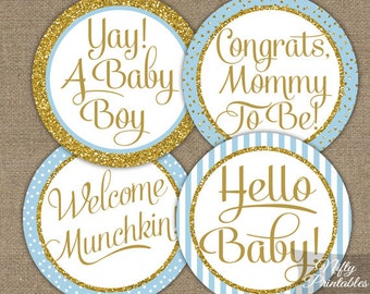Baby Shower Cupcake Toppers - Blue Boy Baby Shower Toppers - Printable Blue Gold Shower Decorations - Baby Boy Shower Cupcake Toppers Tags