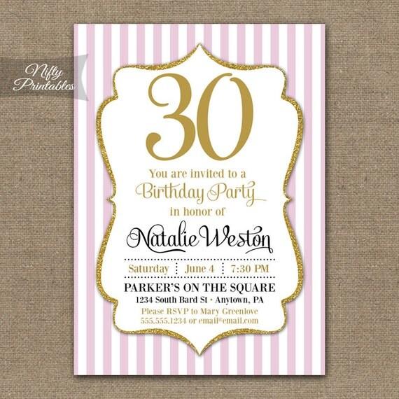 30th Birthday Invitations Pink Gold Glitter Thirty Or – Thirtieth Birthday Invitations