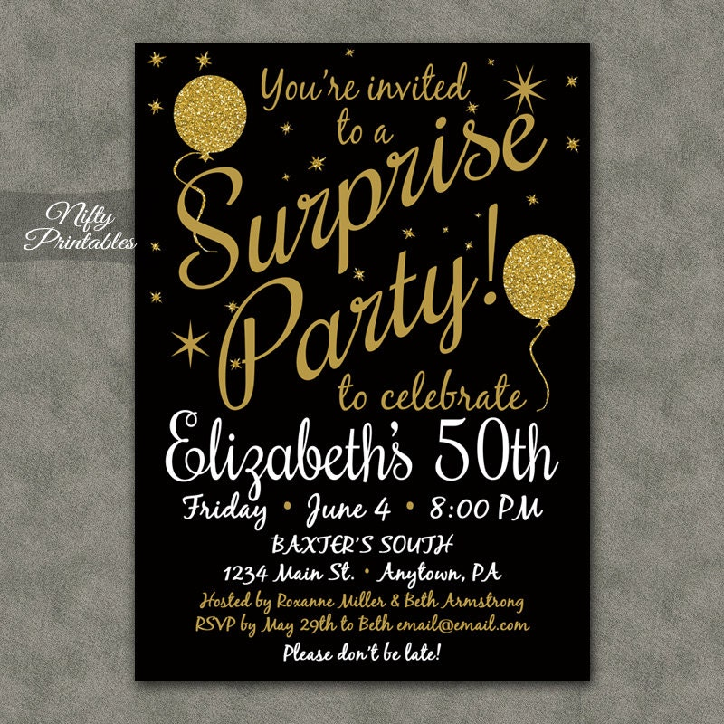 Surprise Party Invitations Printable Black Gold Surprise – Surprise Birthday Party Invites