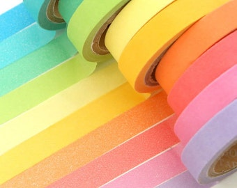 10 rolls Washi Tape (7mm x 5m) - Colorful
