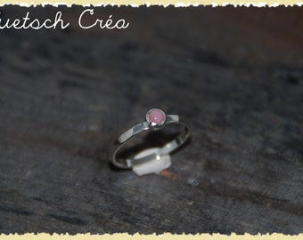 Silver ring & Opal pink