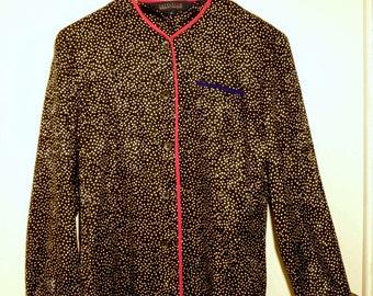 Vintage 1980s, Geometric, Neon, 100% Pure Silk, Long Sleeve Blouse,