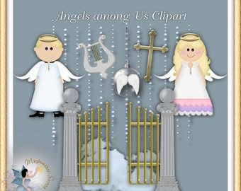 Angel Baptism Clipart, Confirmation Commercial Use Digital Scrapbook
