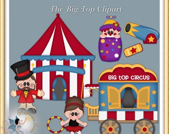 Big Top, Circus clipart, birthday party digital scrapbook elements for commercial use