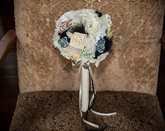 Vintage Inspired Bridal Bouquet - multi-coloured