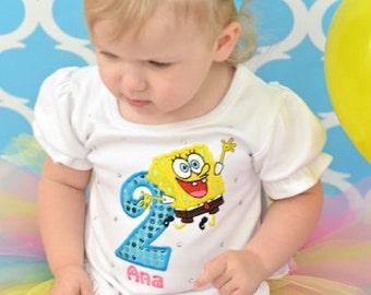 SpongeBob Birthday Number Tutu -Personalized Birthday Tutu,Sizes 6m - 14/16