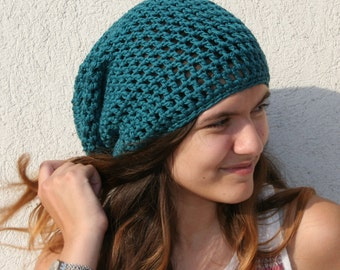 Slouchy Hat in Teal Cotton Crochet Beanie Slouchy Beanie Hat Womens Crochet Hats