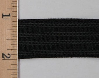 "Polyester Gripper Elastic, 1"" Gripper Elastic, Black Elastic Trim, Elastic for Sportswear by the 5 Yard/5 Meter Cut Item # HNWG770-100-990"