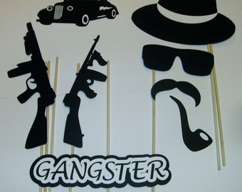 15 Photo Booth Props Gangster Good Fellas Mob Guns Cigarette (2094D)