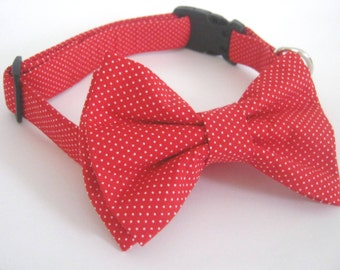 bow tie dog collar ,collar accessory ,dog collar with bow tie ,collar and removable bow tie ,red collar