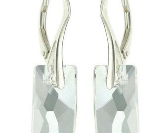 925 Sterling Silver Pendular Lochrose Swarovski Crystal Leverback Earrings