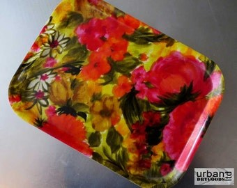 Mid-Century Serving Fiberglass Serving Tray with Bold Floral Graphics (11-0067)