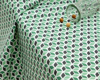 Cotton Fabric Green Cube By The Yard