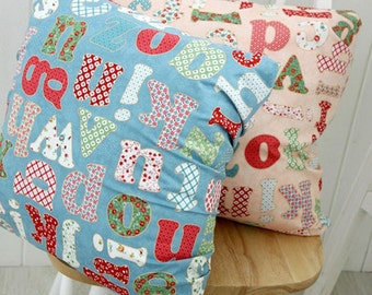 Cotton Fabric Alphabet in 2 Colors By The Yard