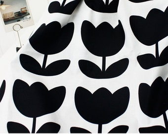 Cotton Fabric Tulip Black By The Yard