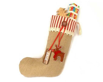 Personalized Shabby Chic Christmas Stocking in Red Ticking with pure wool felt reindeer and wooden name tag