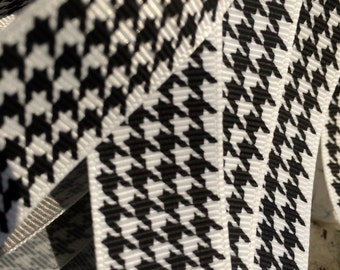 "Preppy 7/8"" HOUNDSTOOTH Black and White STRIPE Grosgrain RIbbon sold by the yard"