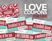 Love Coupons FOR HER! – Printable Digital File – Instantly print love coupons for Valentine's Day, Anniversaries, or Just Because!