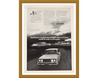 "1971 Toyota Car B&W Print AD / We're quality oriented / 7"" x 10"" / Original Advertisement / Buy 2 ads Get 1 FREE"
