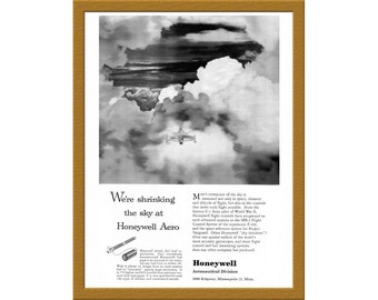 "1957 Honeywell Aeronautical Division B&W AD / We're shrinking the sky / 6"" x 9"" / Original Print Ad / Buy 2 ads Get 1 FREE"