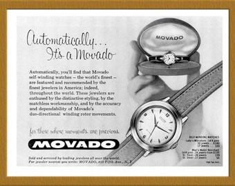 "1957 Movado Watch B&W Print AD / For those whose moments are precious / 6"" x 4"" / Original Print Ad / Buy 2 ads Get 1 FREE"