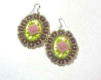 Earrings Czech beads with cameos