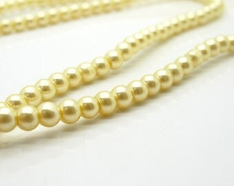 Cream glass pearl beads, 4mm round 32 inch strand, wedding jewelry making supplies