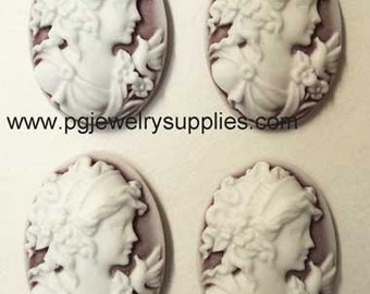 25mm x 18mm lady profile  grecian lady with  bird cameos white on ruby 4 pcs lot l