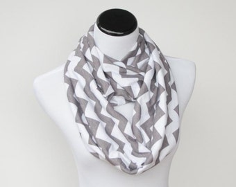 SALE 35% OFF Gray white chevron infinity scarf soft jersey knit loop scarf - grey cotton circle scarf gift for her, gift for mom and girl