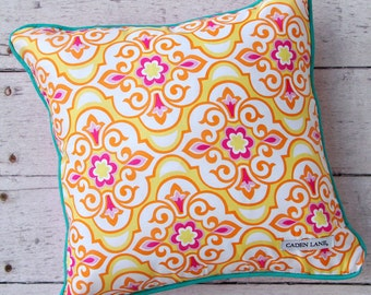 15% OFF SALE - Lily Pad Yellow Square Pillow | Yellow Nursery Accent Pillow