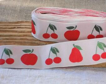Satin ribbon white red fruits nursery decor children gift wrap ribbon tape 2 yards