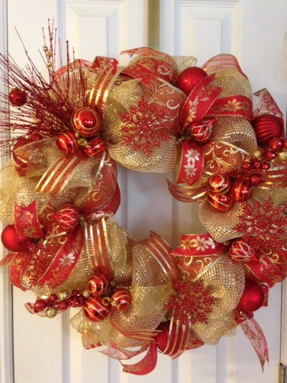 Items Similar To Christmas Red And Gold Deco Mesh