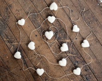 White Heart Garland Needle Felting Kit DIY learn a new wool craft with Video Instructions weddings christmas home decor