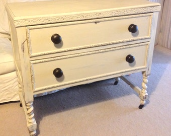 Painted 1930s Oak Barley-Twist Chest on castors
