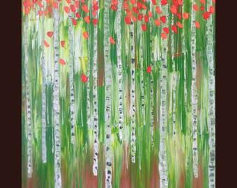Tree Painting, Impasto Tree, woods Painting,Green painting,landscape painting,Original painting, Textured painting,Impasto