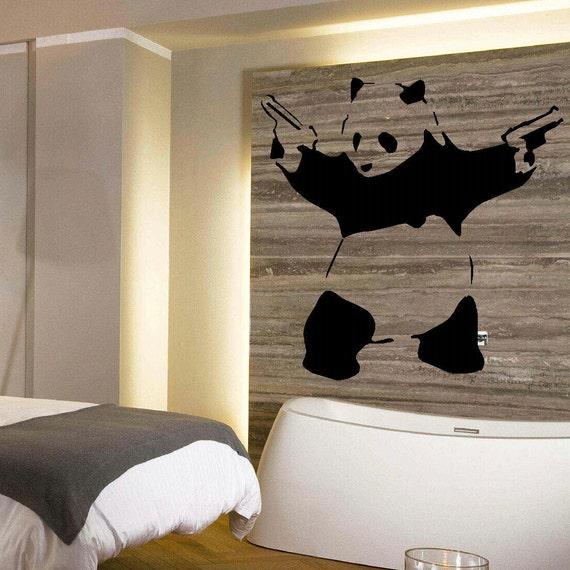 grande panda banksy camera da letto arte muro murali stencil - Stencil Camera Da Letto